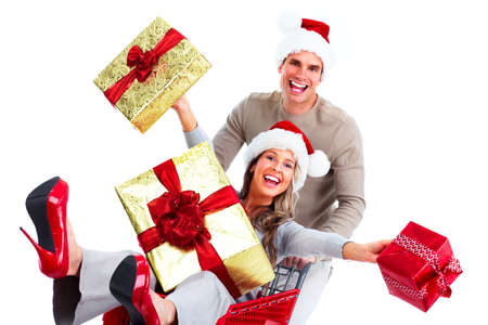 shopping trolleys: Shopping Christmas couple  Stock Photo