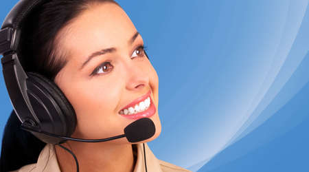 Woman with headset Stock Photo - 13620426