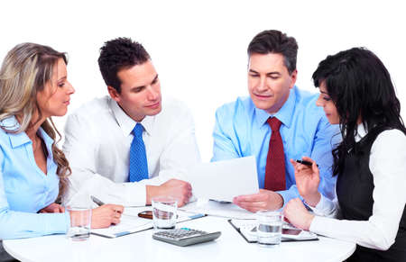 four person: Group of business people working