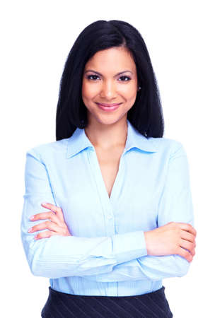 white work: Young business woman