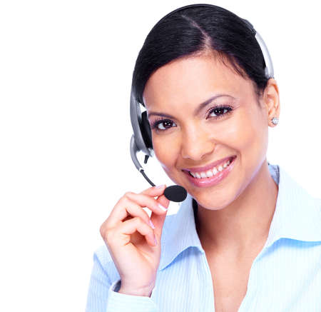 telephone headsets: Call center operator business woman