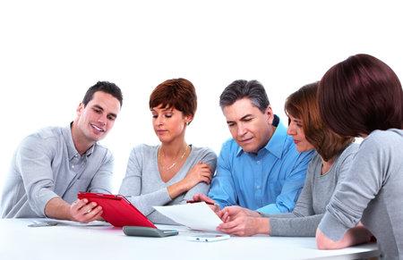brainstorming: Group of business people working