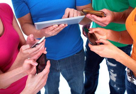 People with smartphones photo