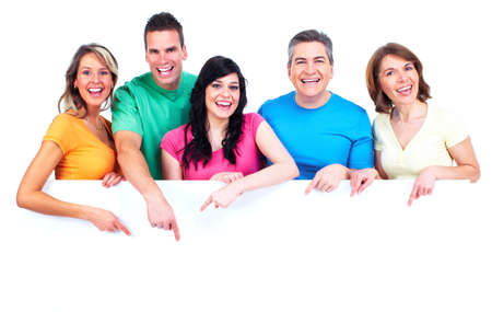 groups: Group of happy people with banner  Stock Photo