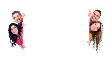 advertise: Group of happy people with banner  Stock Photo
