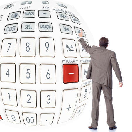 the bookkeeper: Businessman with calculator