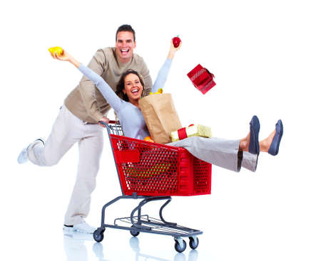 carro supermercado: Compras pareja Foto de archivo