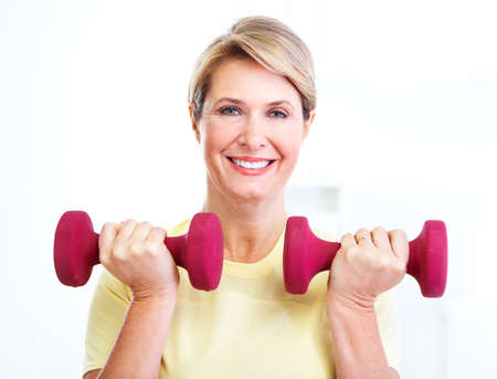 senior fitness: Senior woman doing fitness  Stock Photo