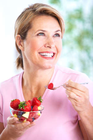 healthy seniors: Senior woman with a salad  Diet