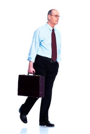 people walking white background: Mature executive businessman  Stock Photo