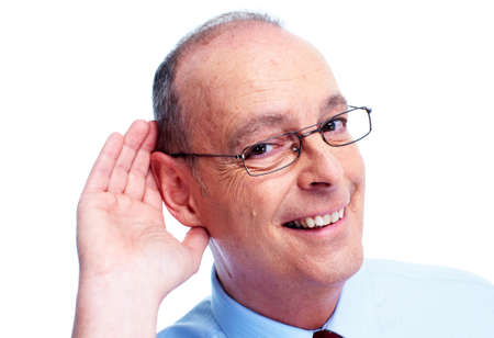 hears: Deaf man. Isolated on white background.