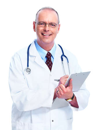 doctor writing: Medical doctor. Isolated on white background. Stock Photo