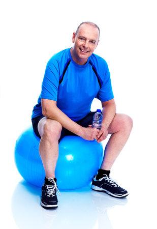 Fitness man. Isolated on white background. photo