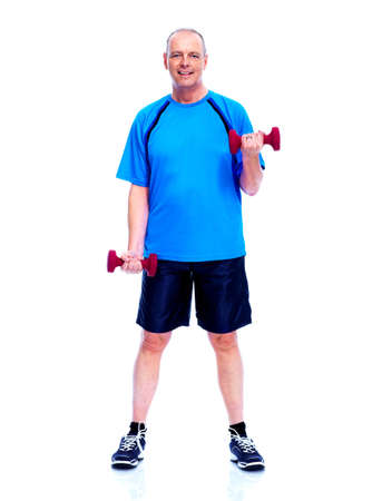 Fitness man. Isolated on white background. photo