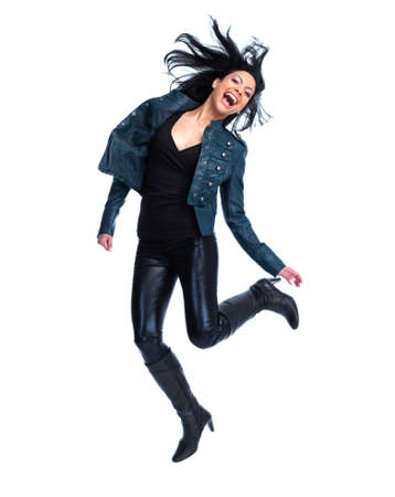 Crazy jumping woman  photo