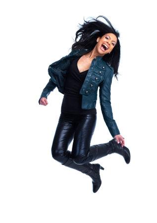 Happy jumping woman  photo