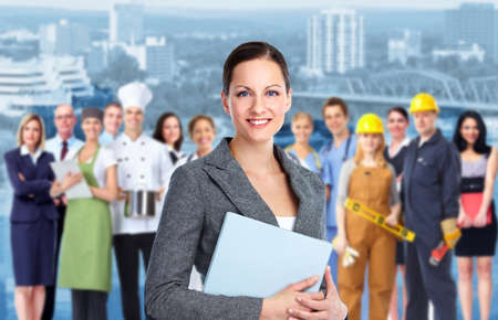 Business woman and Group of industrial workers  photo