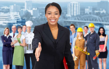 Business woman and Group of industrial workers  Imagens