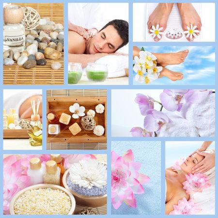 collage spa: Spa Hermoso collage de masaje Foto de archivo
