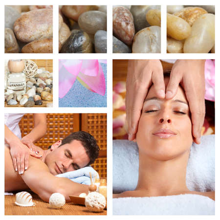 Beautiful Spa massage collage  Stock Photo - 14783229