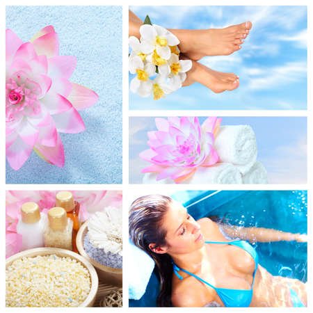 Beautiful Spa massage collage  Stock Photo - 14783223