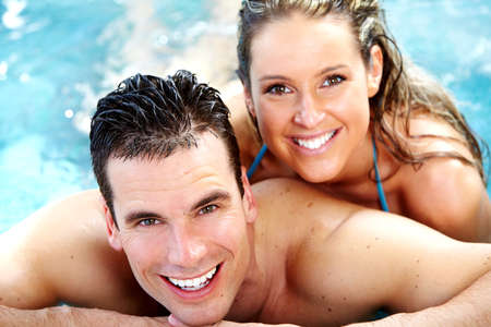 hot tub: Young couple in hot tub Stock Photo
