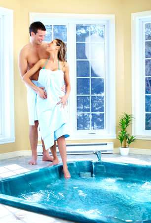 whirlpool: Young couple in hot tub Stock Photo