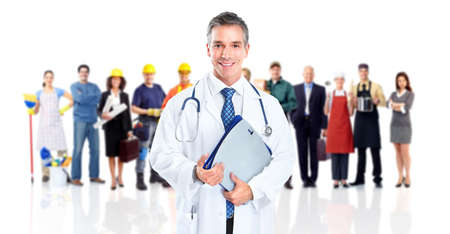 醫療保健: 醫生和一群工人人