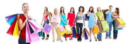 아름 다운 쇼핑 여자의 그룹