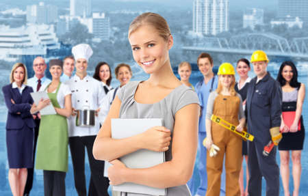community service: Business woman and Group of industrial workers  Stock Photo