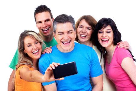 스마트 폰에 만족하는 사람들의 그룹 스톡 콘텐츠