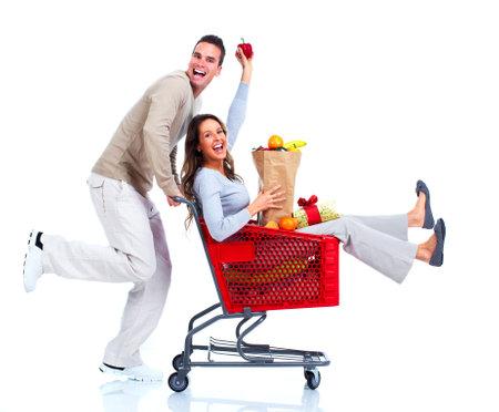 groceries: Compras pareja Foto de archivo