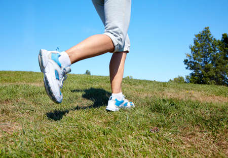 Jogging woman feet