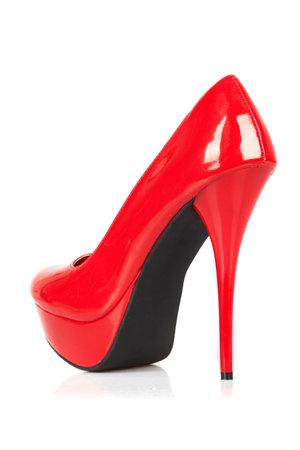 赤い女性靴 写真素材