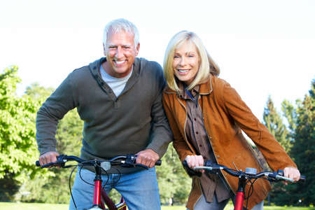 Happy senior couple cyclist  Stock Photo