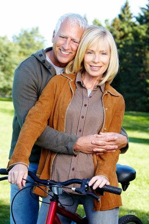 Happy senior couple cyclist  photo