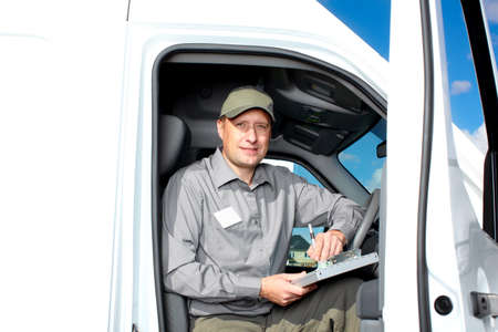 courier: Handsome truck driver