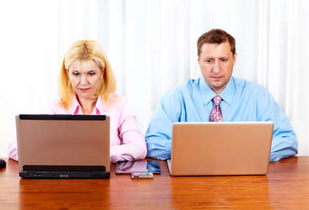 Business people group working with laptop