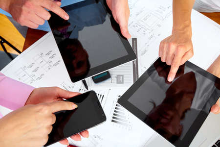 Business people group working with laptop Stock Photo - 15396718