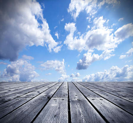 distance: Wooden floor and the sky  Stock Photo