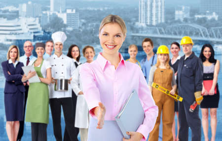 Business woman and Group of industrial workers Stock Photo - 15396284