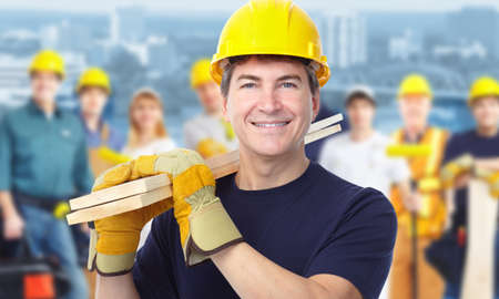 construction companies: Worker carpenter  Stock Photo