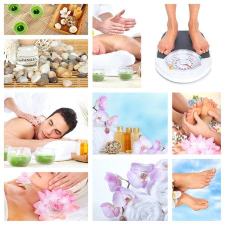 salon and spa: Beautiful Spa massage collage  Stock Photo