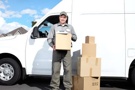 Delivery postal service man Stock Photo - 15441388