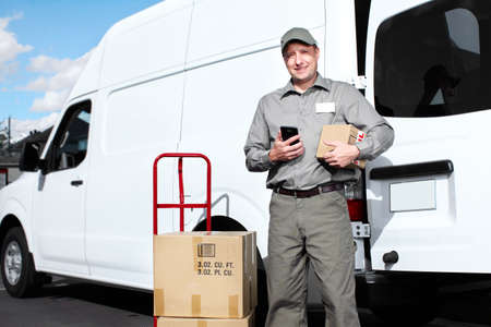 courier delivery: Delivery postal service man