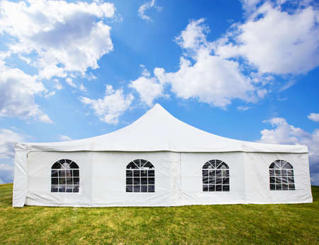lawn party: White banquet tent