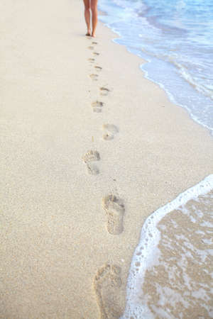 Human feet on the beach  photo