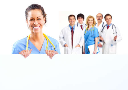 health insurance: Doctor woman with a banner  Stock Photo