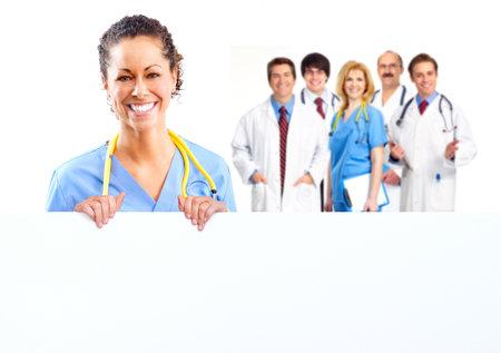 Femme médecin avec une bannière Banque d'images - 15690981