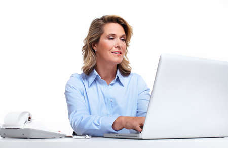 working office: Business woman with a laptop computer  Stock Photo